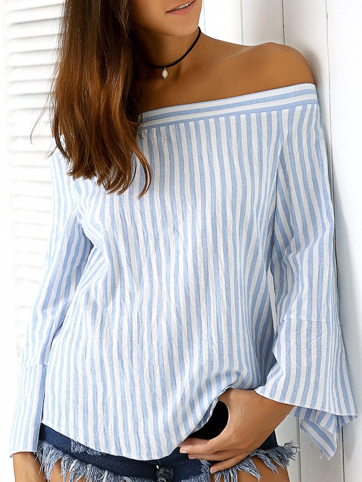 Blauer Streifen weg von der Schulter Bluse