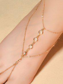 Faux Crystal Beaded Toe Ring Anklet - Golden