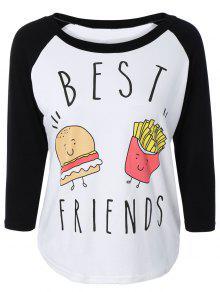 Hamburger Print Raglan Sleeve Baseball T-Shirt - Black 2xl