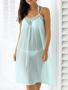 Light Blue Spaghetti Robe En Mousseline De Soie Strap - Bleu Clair M