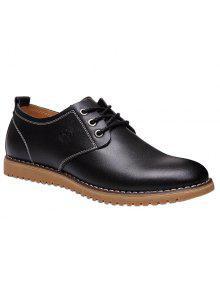 أنيق التعادل حتى و بو الجلود تصميم أحذية رسمية للرجال - أسود 42