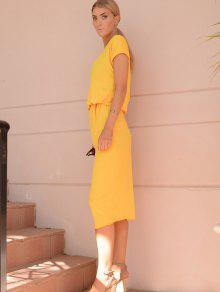 f6e49652bc 27% OFF  2019 Yellow Oblique Shoulder Maxi Dress In YELLOW
