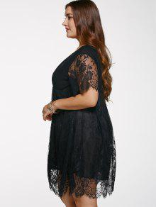 Vestido Talla Extra Encaje Cuello V Mujer