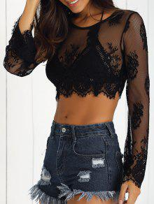 De Manga Larga De Encaje Negro See-Through Camisa Corta - Negro M