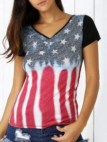 Star Print Plongeant Cou à Manches Courtes T-shirt - Bleu L