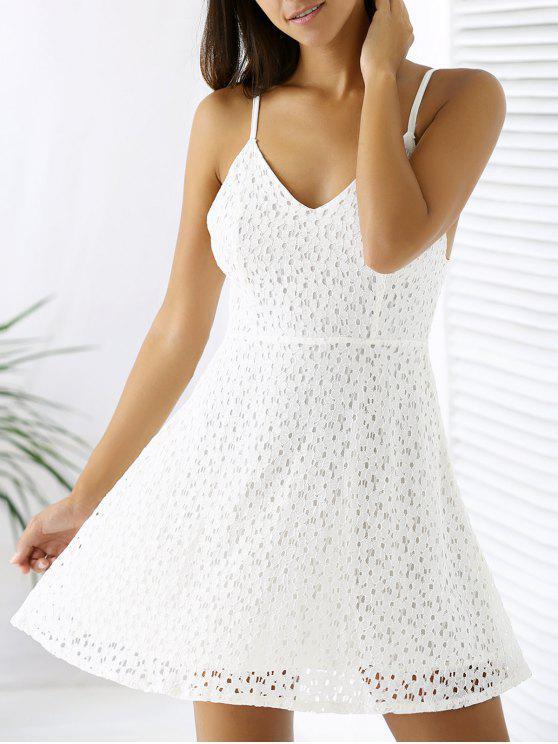 online White Lace Spaghetti Straps A Line Dress - WHITE L