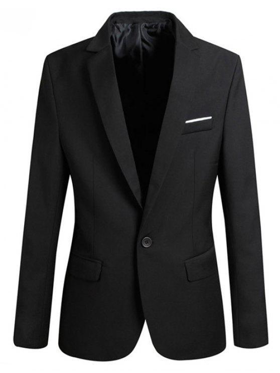 Trendy Revers-Kragen Slim Fit Langarm-Blazer für Männer - Schwarz 2XL