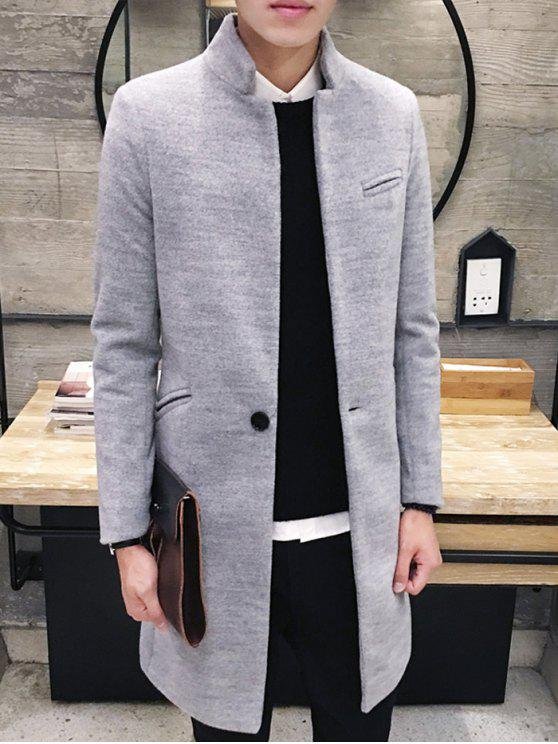 new Elegant Stand Collar Pockets Design Pure Color Coat For Men - LIGHT GRAY XL