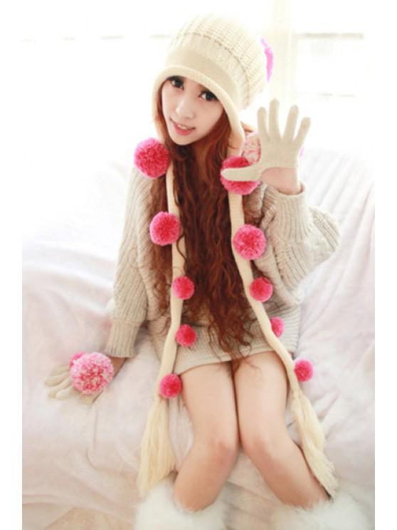 lady 3D Dot Crochet Thick Earflap Hat - BEIGE