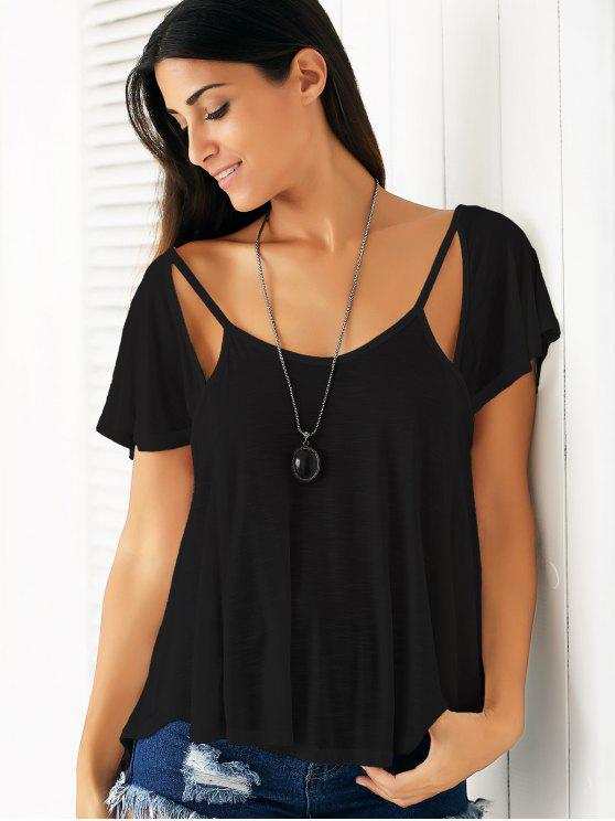 Cutout col en V T-shirt couleur unie - Noir XL