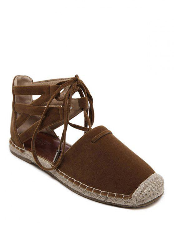 chic Espadrilles Tie Up Square Toe Flat Shoes - BROWN 37