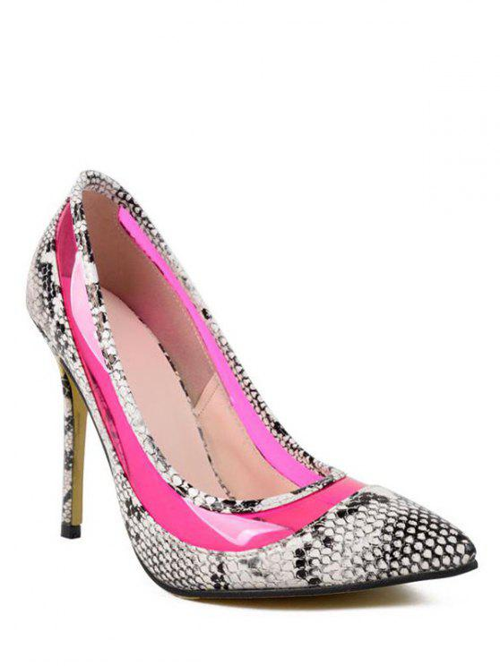 affordable Snake Print Transparent Stiletto Heel Pumps - ROSE 37
