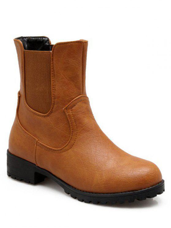 best Solid Color Elastic Band Short Boots - BROWN 39