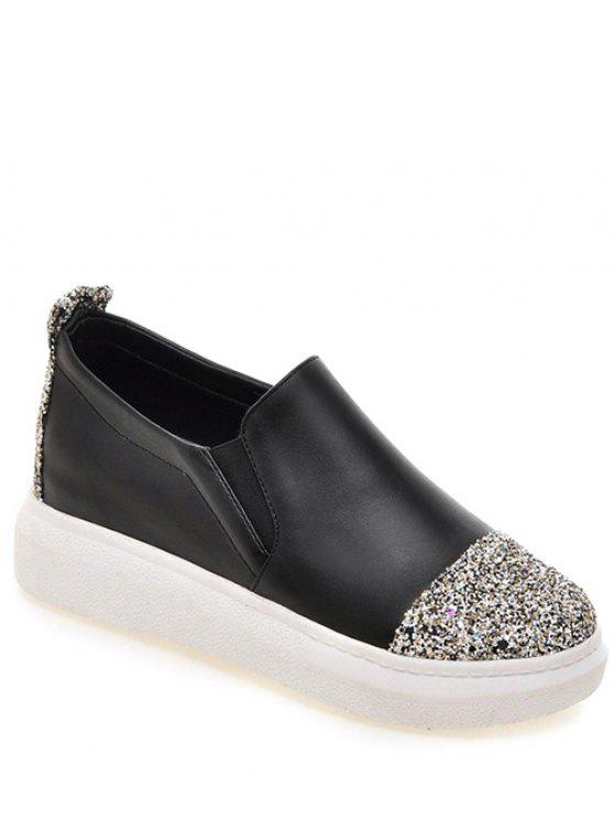 hot Sequins Slip-On Platform Shoes - BLACK 37
