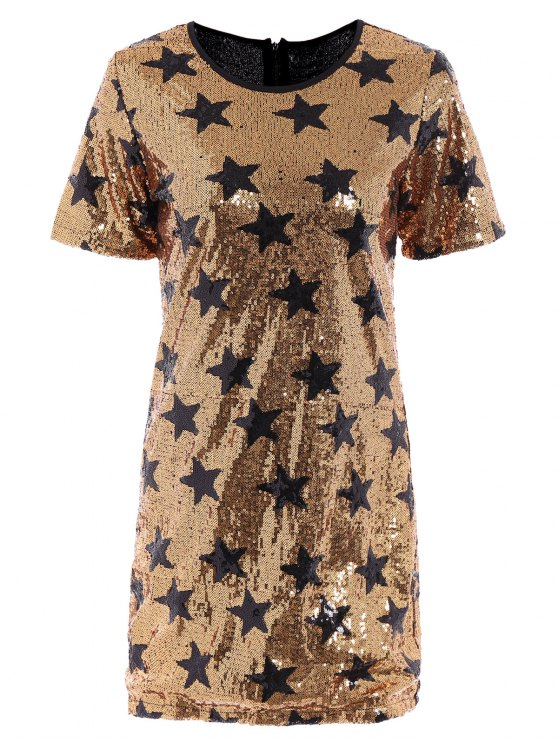 lady Sequins Star Print Round Collar Short Sleeves Dress - GOLDEN XL