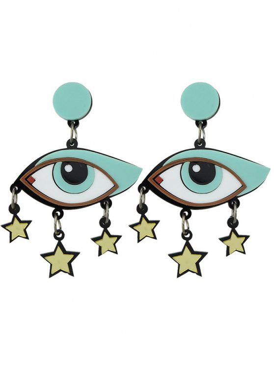 fancy Eyes Pentagram Earrings - BLUE