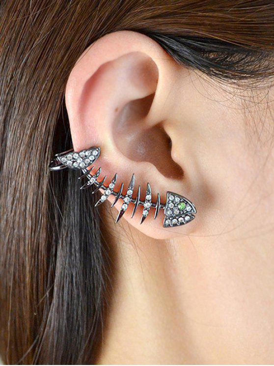 sale Rhinestoned Fishbone Ear Cuff - BLACK
