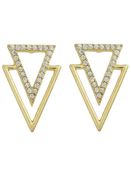 buy Rhinestone Hollowed Triangle Earrings - GOLDEN