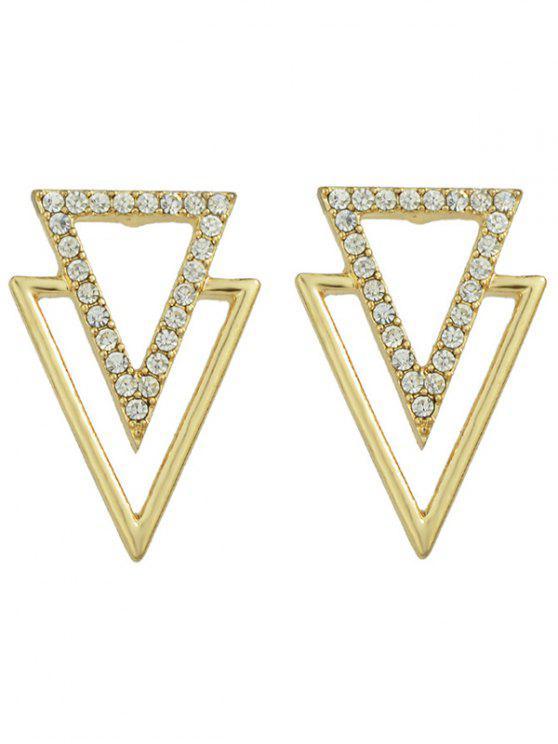 Pendientes rhinestoned ahuecada Triangle - Dorado