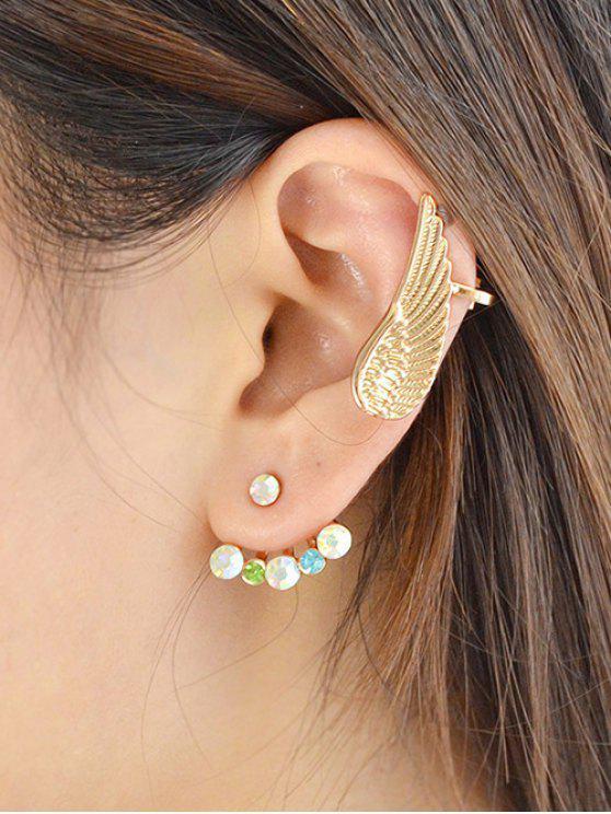 womens Rhinestone Angel Wing Earrings - GOLDEN