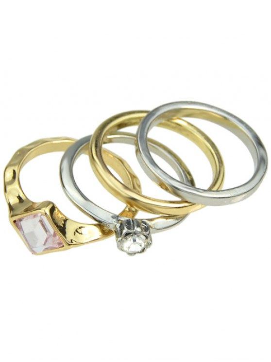 women Rhinestone Geometric Wedding Jewelry Rings - COLORMIX ONE-SIZE