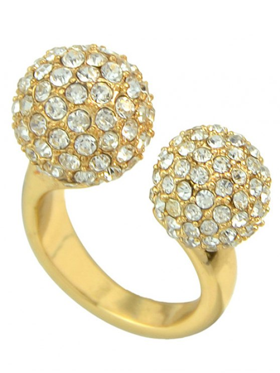 women's Rhinestoned Ball Ring - GOLDEN ONE-SIZE