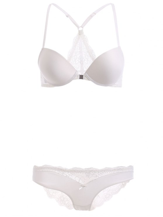 shops Lace Spliced Front Closure Bra Set - WHITE 75C