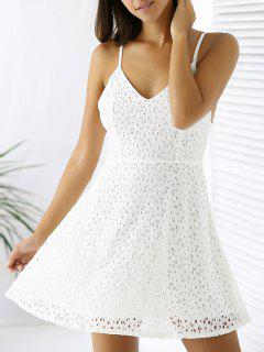 White Lace Spaghetti Straps A Line Dress - White 2xl