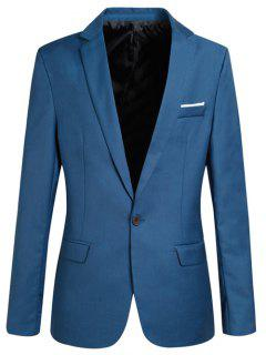 Trendy Lapel Collar Slim Fit Long Sleeve Blazer For Men - Blue Xl