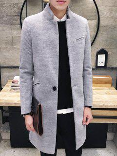 Elegant Stand Collar Pockets Design Pure Color Coat For Men - Light Gray Xl