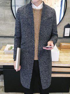 Elegant Stand Collar Pockets Design Gray Melange Coat For Men - Deep Gray M