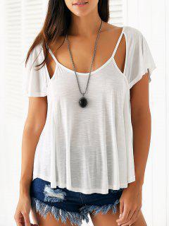 Cutout Scoop Neck Solid Color T-Shirt - White S