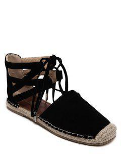 Espadrilles Tie Up Square Toe Flat Shoes - Black 38