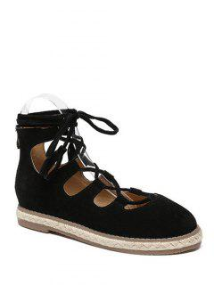Espadrilles Zipper Lace Up Flat Shoes - Black 38