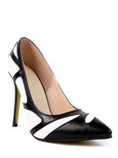 Color Splice Stiletto Heel Pumps - Black 38