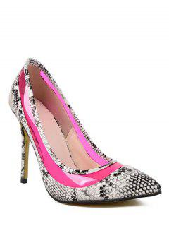 Snake Print Transparent Stiletto Heel Pumps - Rose 38