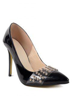 Rivets Patent Leather Black Pumps - Black 38