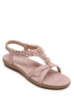 Flowers T Bar Flat Heel Sandals - Pink 38