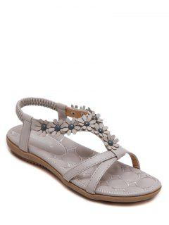 Flowers T Bar Flat Heel Sandals - Gray 38