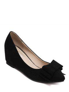 Pointed Toe Bow Flock Wedge Shoes - Black 38