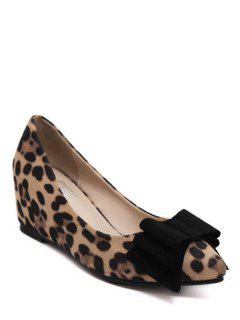 Pointed Toe Bow Flock Wedge Shoes - Leopard 38