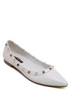 Métal Rivets Perlage Couleur Unie Chaussures Plates - Blanc 38