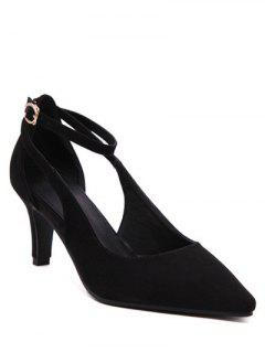 Hollow Out Ankle Strap Stiletto Heel Pumps - Black 38