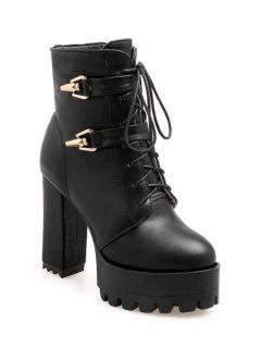 Metal Chunky Heel Black Short Boots - Black 38