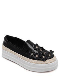 Zapatos Flores Diamantes De Imitación De Color Bloque Plano - Negro 38