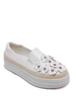 Zapatos Flores Diamantes De Imitación De Color Bloque Plano - Blanco 38