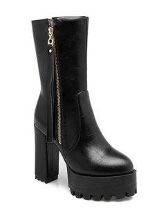 Side Zip Chunky Heel Black Short Boots - Black 37