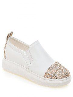 Sequins Slip-On Platform Shoes - White 38