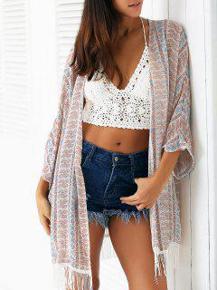 Tassels Spliced Batwing Sleeve Printed Long Blouse - Light Apricot
