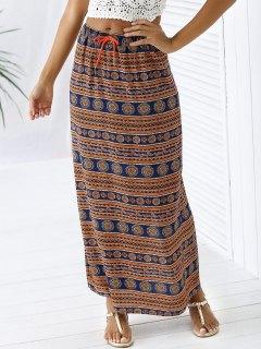 A-Line Taille Haute Double Side Jupe Imprimée - Orange Rose S